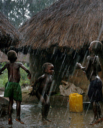 Children playing in the rain...